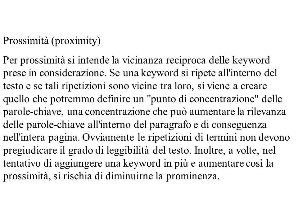 Prossimità (proximity)