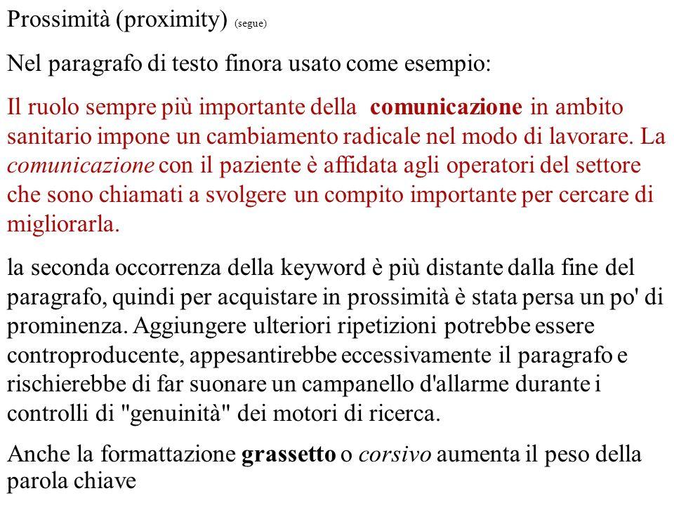 Prossimità (proximity) (segue)