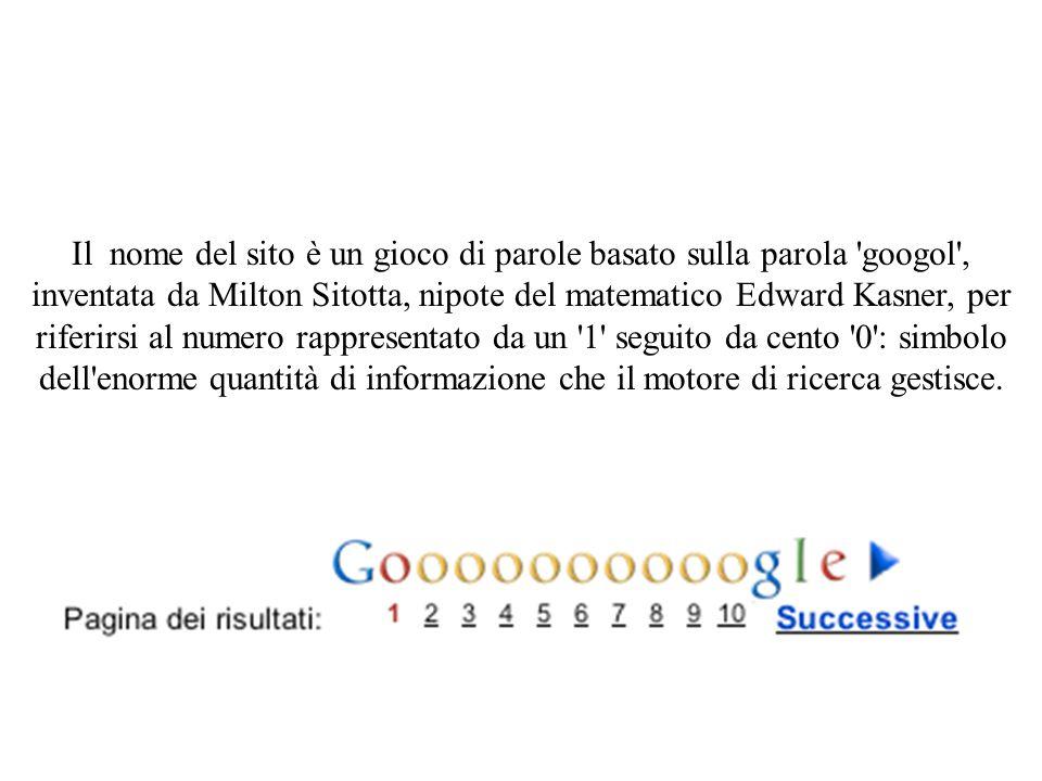 Il nome del sito è un gioco di parole basato sulla parola googol , inventata da Milton Sitotta, nipote del matematico Edward Kasner, per riferirsi al numero rappresentato da un 1 seguito da cento 0 : simbolo dell enorme quantità di informazione che il motore di ricerca gestisce.
