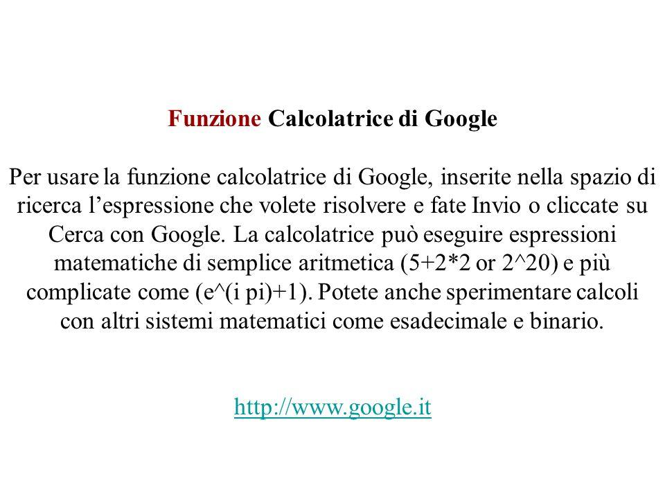 Funzione Calcolatrice di Google