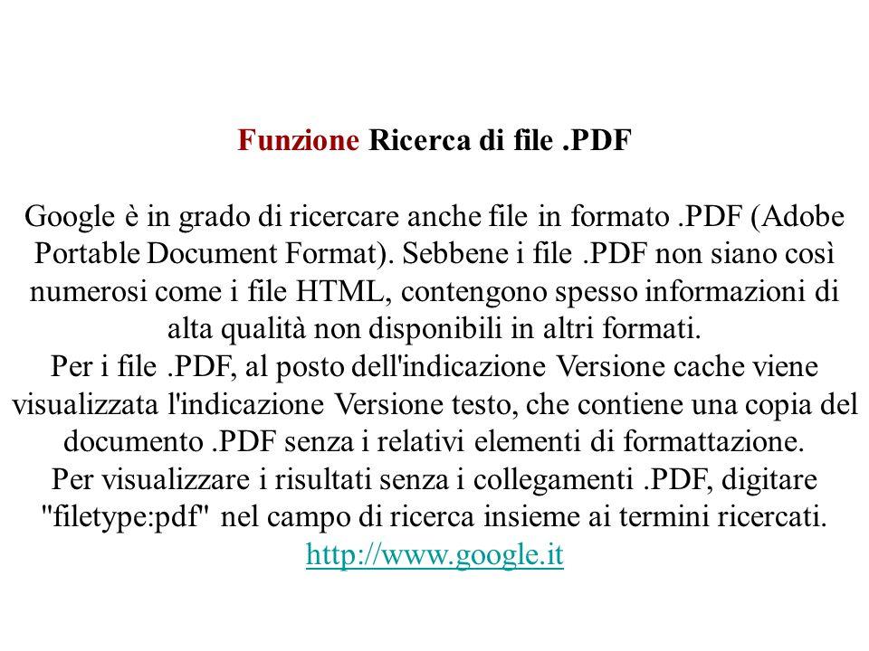 Funzione Ricerca di file .PDF