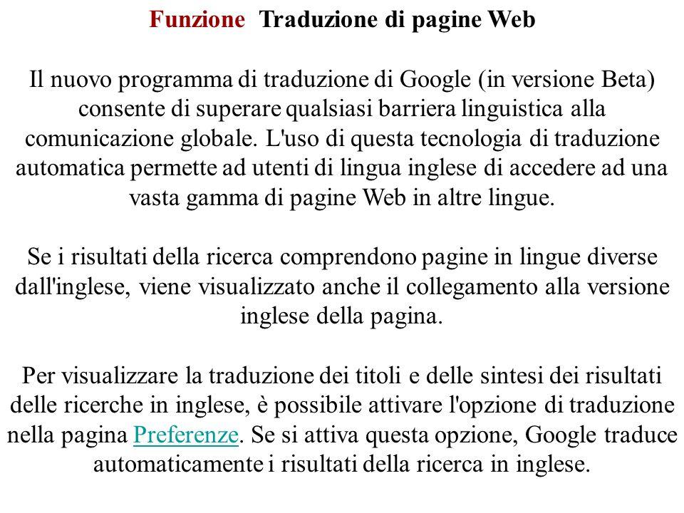 Funzione Traduzione di pagine Web