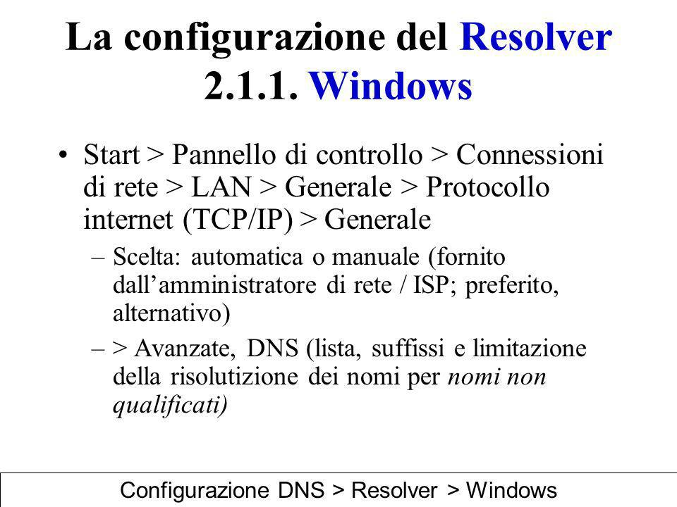 La configurazione del Resolver 2.1.1. Windows