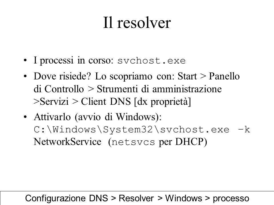 Configurazione DNS > Resolver > Windows > processo