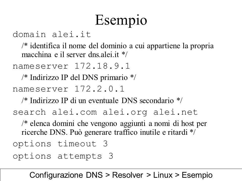 Configurazione DNS > Resolver > Linux > Esempio
