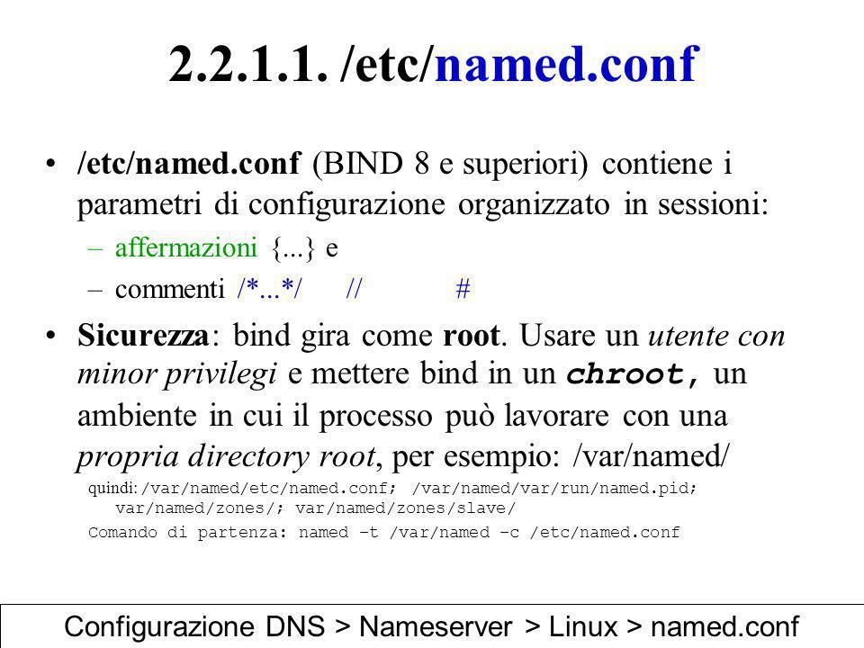 Configurazione DNS > Nameserver > Linux > named.conf
