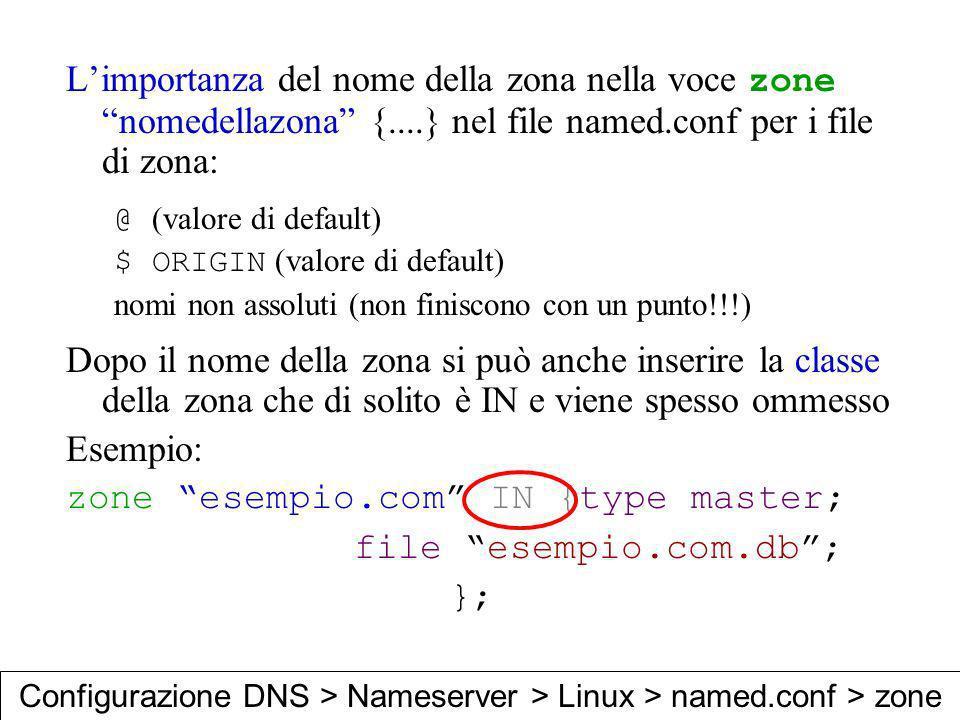 zone esempio.com IN {type master; file esempio.com.db ; };