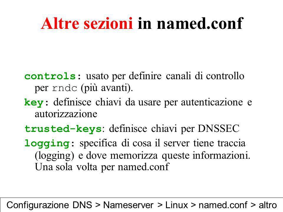 Altre sezioni in named.conf