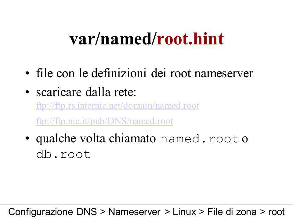 var/named/root.hint file con le definizioni dei root nameserver