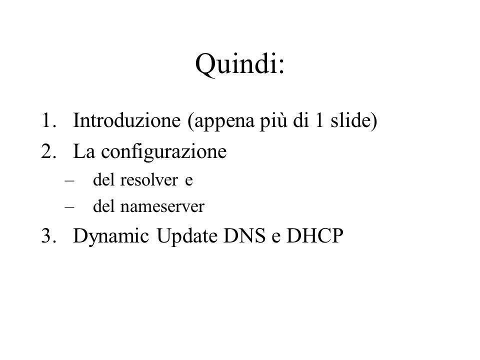 Quindi: Introduzione (appena più di 1 slide) La configurazione
