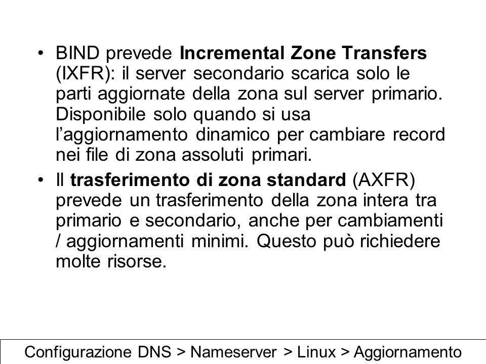 Configurazione DNS > Nameserver > Linux > Aggiornamento
