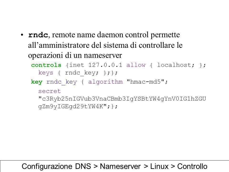 Configurazione DNS > Nameserver > Linux > Controllo