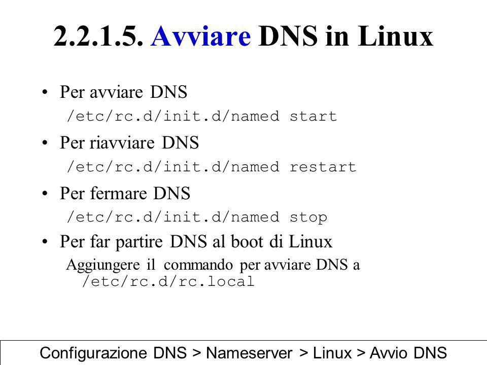 Configurazione DNS > Nameserver > Linux > Avvio DNS