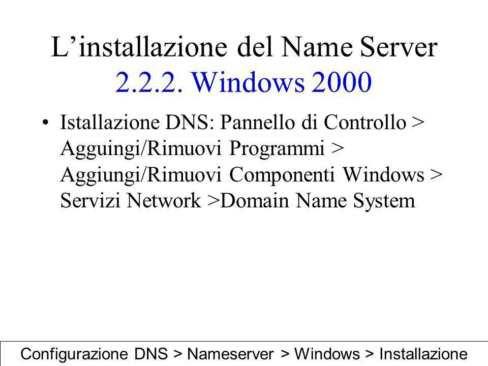 L'installazione del Name Server 2.2.2. Windows 2000