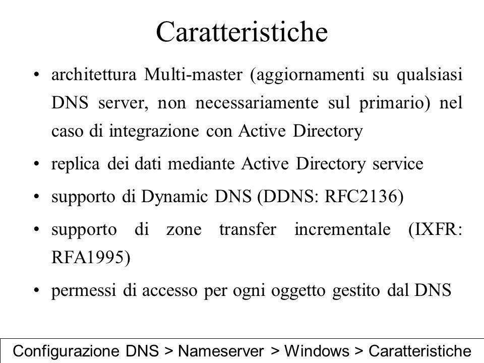 Configurazione DNS > Nameserver > Windows > Caratteristiche