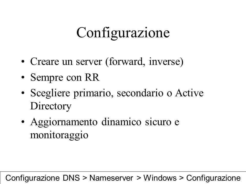 Configurazione DNS > Nameserver > Windows > Configurazione