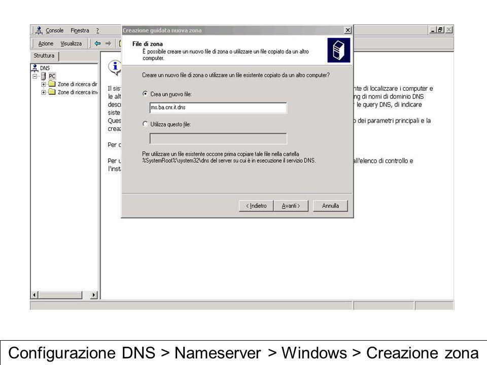 Configurazione DNS > Nameserver > Windows > Creazione zona