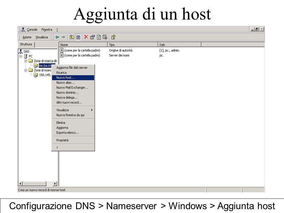 Configurazione DNS > Nameserver > Windows > Aggiunta host