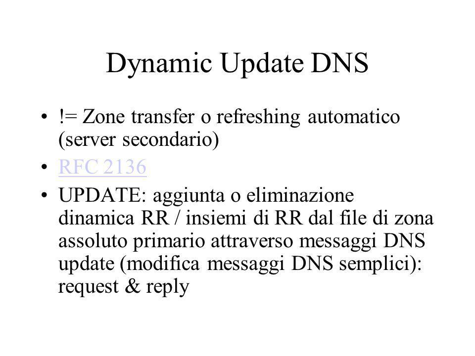 Dynamic Update DNS != Zone transfer o refreshing automatico (server secondario) RFC 2136.