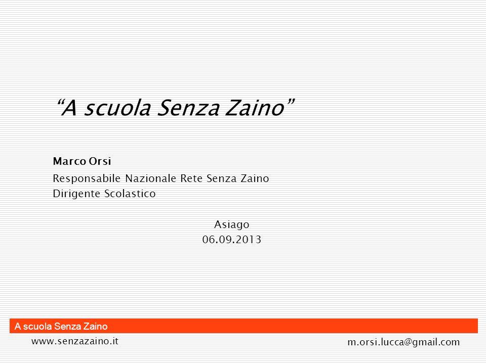 A scuola Senza Zaino Marco Orsi