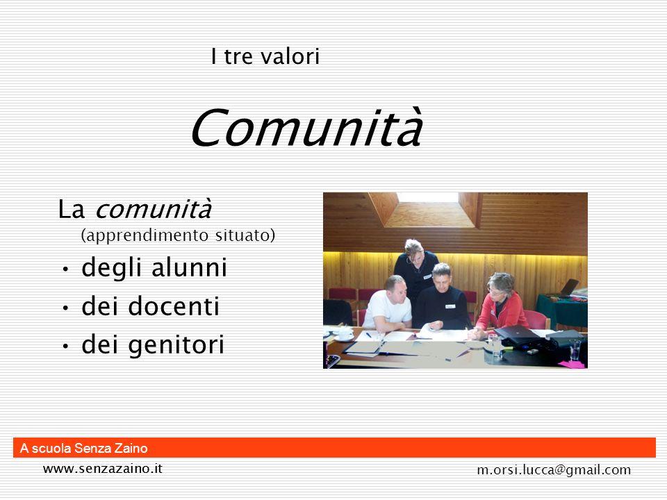 Comunità La comunità (apprendimento situato) degli alunni dei docenti