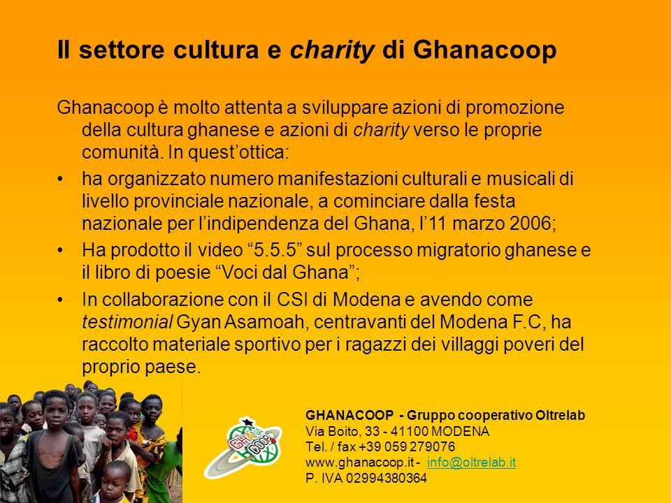 Il settore cultura e charity di Ghanacoop