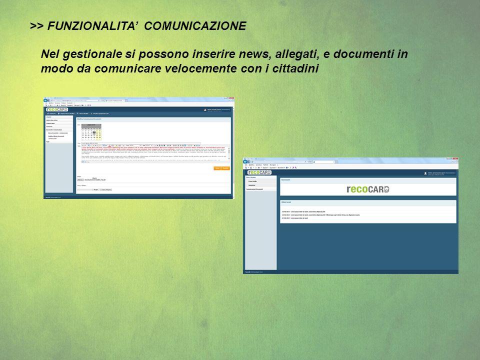 >> FUNZIONALITA' COMUNICAZIONE