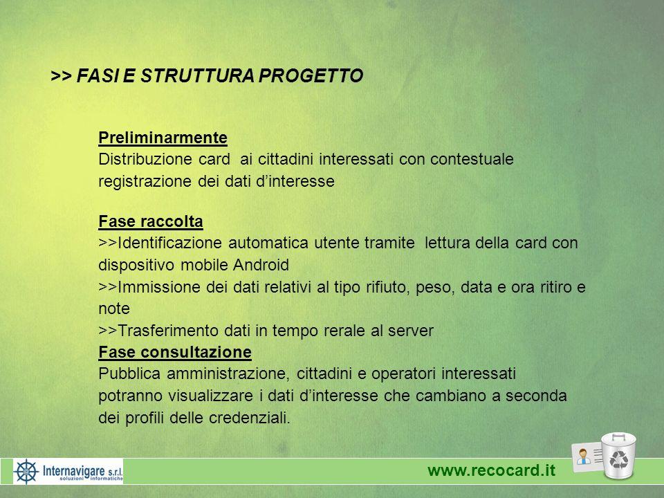 >> FASI E STRUTTURA PROGETTO