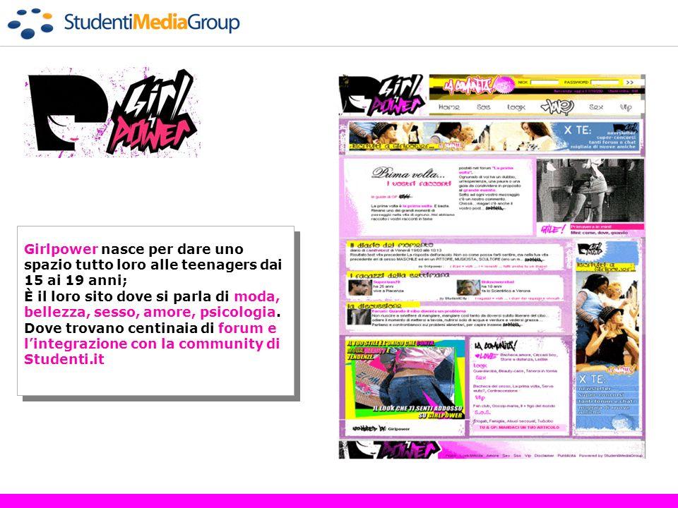 www.girlpower.it Girlpower nasce per dare uno spazio tutto loro alle teenagers dai 15 ai 19 anni;