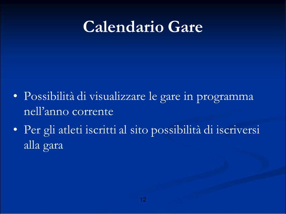 Calendario Gare Possibilità di visualizzare le gare in programma nell'anno corrente.