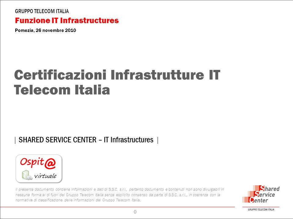 Certificazioni Infrastrutture IT Telecom Italia