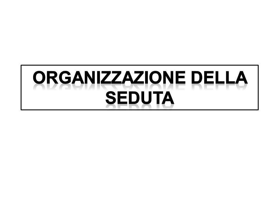 Organizzazione della seduta