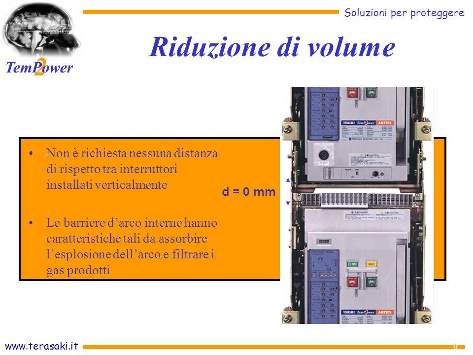 Riduzione di volume Non è richiesta nessuna distanza di rispetto tra interruttori installati verticalmente.