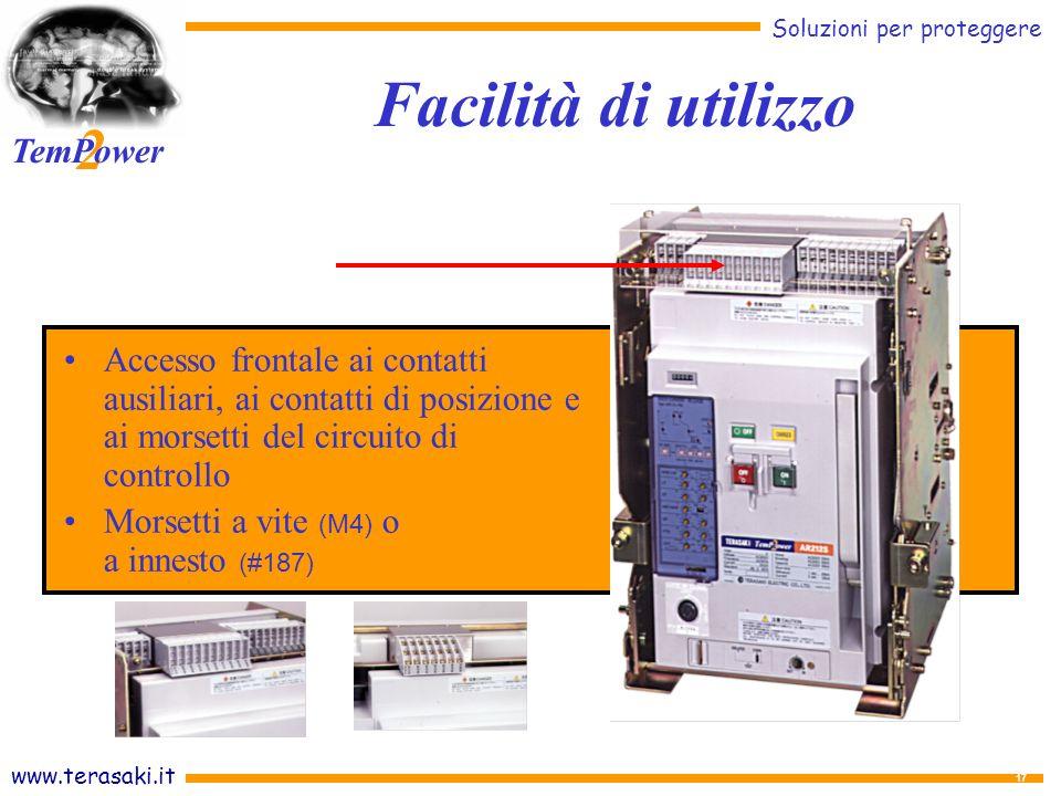 Facilità di utilizzo Accesso frontale ai contatti ausiliari, ai contatti di posizione e ai morsetti del circuito di controllo.