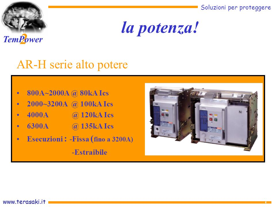 la potenza! AR-H serie alto potere -Estraibile 800A~2000A @ 80kA Ics