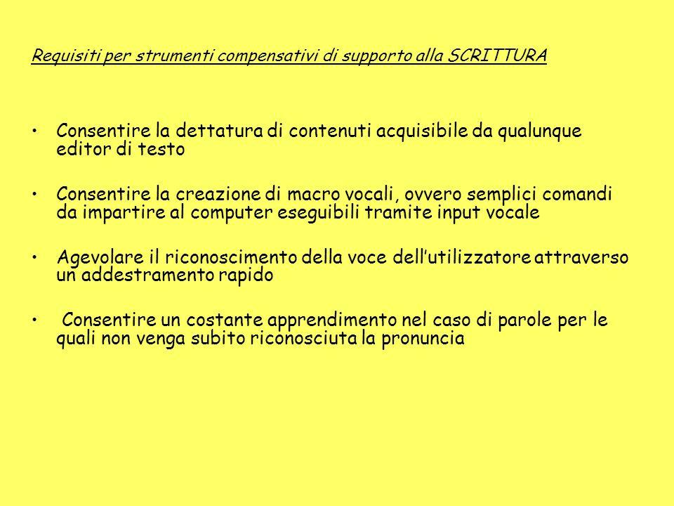 Requisiti per strumenti compensativi di supporto alla SCRITTURA