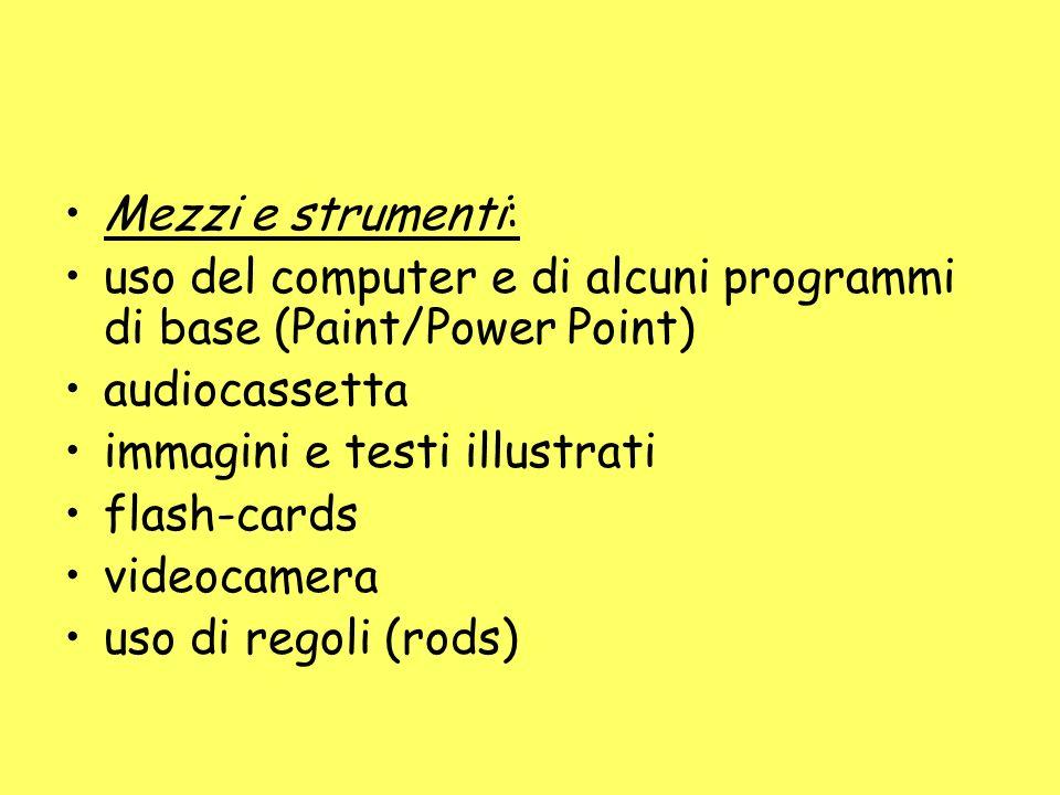 Mezzi e strumenti: uso del computer e di alcuni programmi di base (Paint/Power Point) audiocassetta.