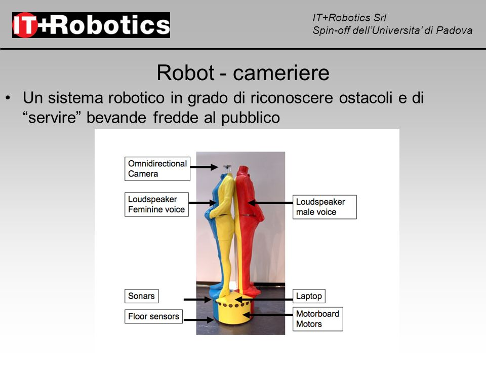 Robot - cameriere Un sistema robotico in grado di riconoscere ostacoli e di servire bevande fredde al pubblico.