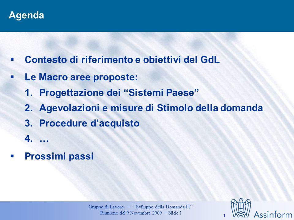 Agenda Contesto di riferimento e obiettivi del GdL. Le Macro aree proposte: Progettazione dei Sistemi Paese