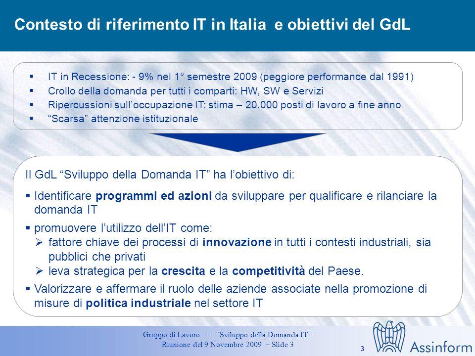 Contesto di riferimento IT in Italia e obiettivi del GdL