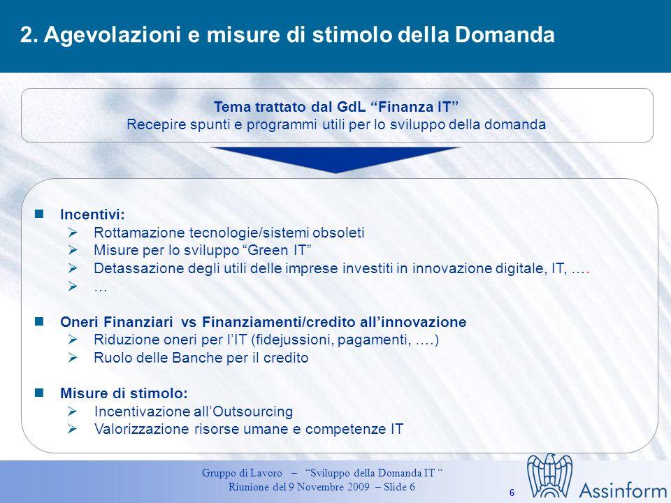 Tema trattato dal GdL Finanza IT