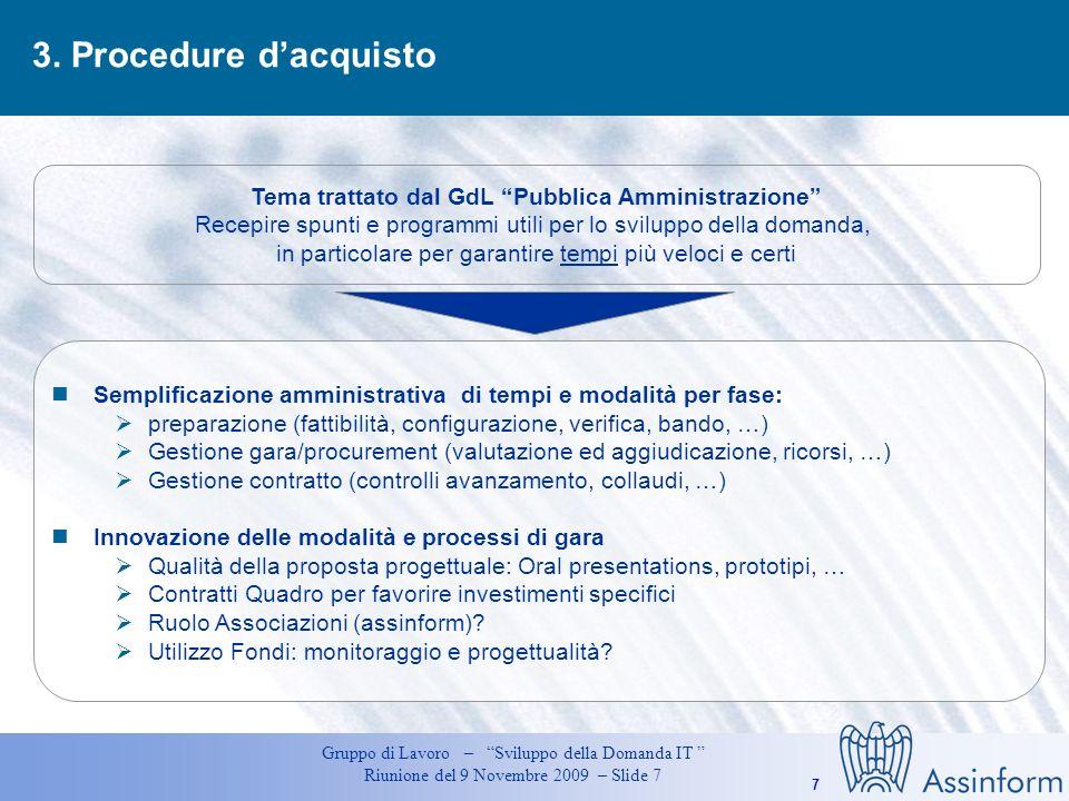 Tema trattato dal GdL Pubblica Amministrazione