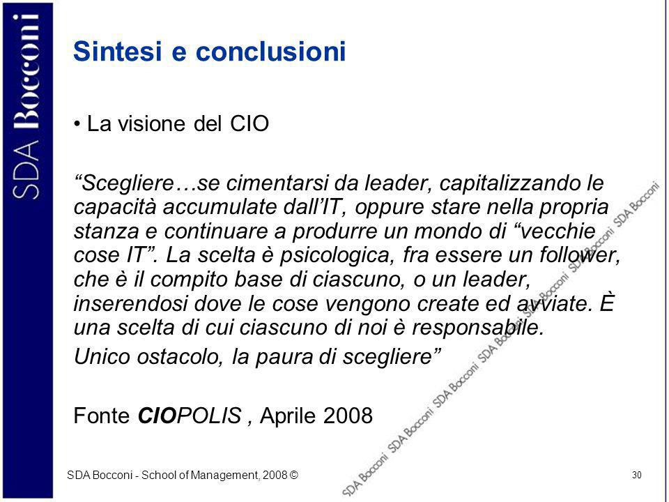 Sintesi e conclusioni La visione del CIO