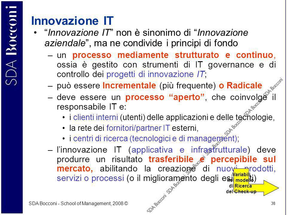 Innovazione IT Innovazione IT non è sinonimo di Innovazione aziendale , ma ne condivide i principi di fondo.