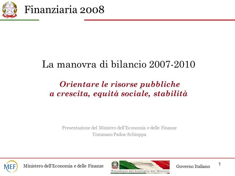 La manovra di bilancio 2007-2010 Orientare le risorse pubbliche a crescita, equità sociale, stabilità