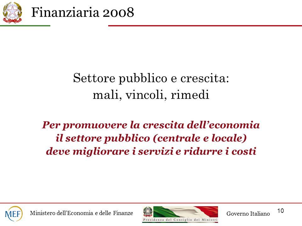 Settore pubblico e crescita: mali, vincoli, rimedi Per promuovere la crescita dell'economia il settore pubblico (centrale e locale) deve migliorare i servizi e ridurre i costi