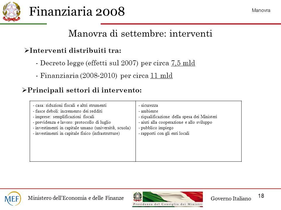 Manovra di settembre: interventi