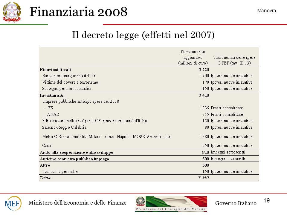 Il decreto legge (effetti nel 2007)
