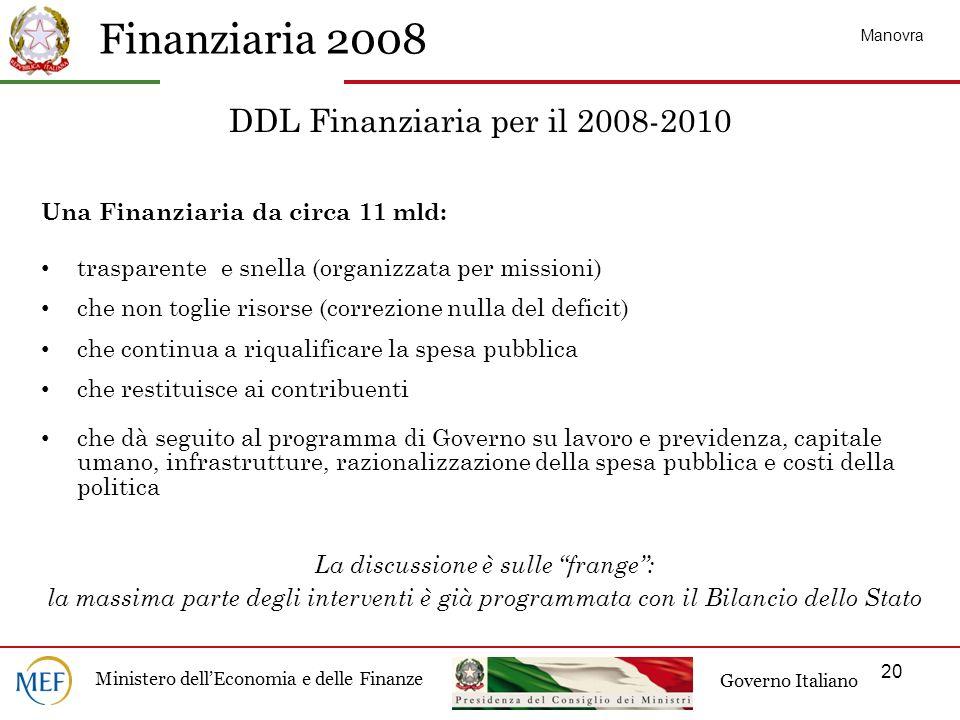 DDL Finanziaria per il 2008-2010