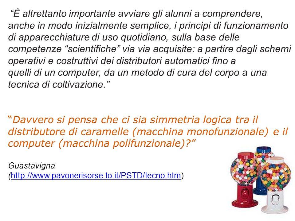 È altrettanto importante avviare gli alunni a comprendere, anche in modo inizialmente semplice, i principi di funzionamento di apparecchiature di uso quotidiano, sulla base delle competenze scientifiche via via acquisite: a partire dagli schemi operativi e costruttivi dei distributori automatici fino a